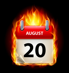 twentieth august in calendar burning icon on vector image vector image