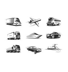 Vehicle types monochrome symbols set vector