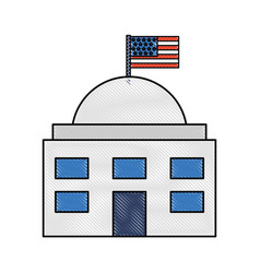 White house with flag vector