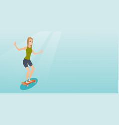 young caucasian woman riding skateboard vector image vector image