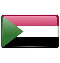 Flags sudan in the form of a magnet on vector