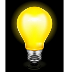 Light bulb on black vector image
