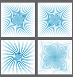 Light blue spiral ray and starburst background set vector image