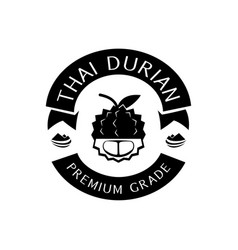 Thai durian premium grade logo with mountain vector