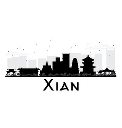 Xian city skyline black and white silhouette vector