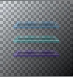 Modern flass shelfs set on transparent vector