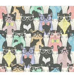 Seamless pattern with hipster cute cats vector