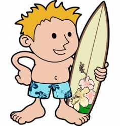 Young surfer with board vector