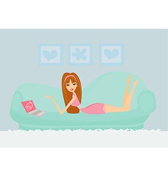 Online - relax girl with laptop on bed vector