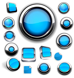 Blue round buttons on white vector