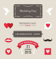 Vintage set of wedding and decorative eleme vector