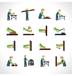 Carpenter icons set vector