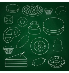 Sweet desserts outline icons on blackboard eps10 vector