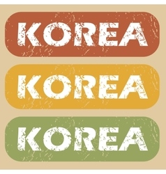 Vintage korea stamp set vector