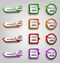 Colored discount sale pointers design element vector image