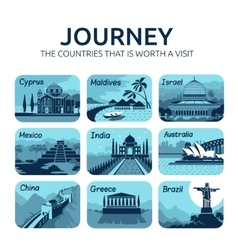 Set of flat travel icons with different countries vector