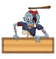 A zombie holding an empty signboard vector
