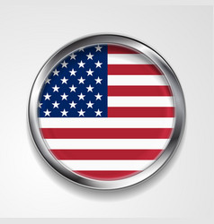 Abstract button with metallic frame usa flag vector