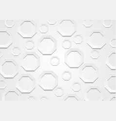 Abstract grey paper tech octagon shapes background vector