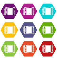 accordion icon set color hexahedron vector image vector image