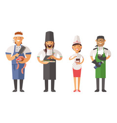 Beautiful young chef decorating delicious vector