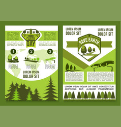 brochures or posters for earth day vector image vector image