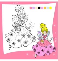 Cartoon fairy coloring page - for vector image