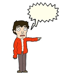 Cartoon terrified man pointing with speech bubble vector