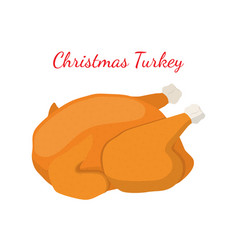 christmas turkey thanksgiving food vector image