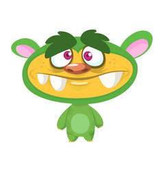 Cute cartoon green monster vector
