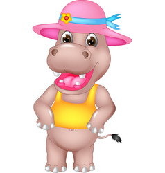 Cute hippo cartoon standing with laughing vector