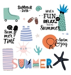 Cute summer design scandinavian set vector