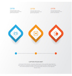 Ecology icons set collection of house aqua vector