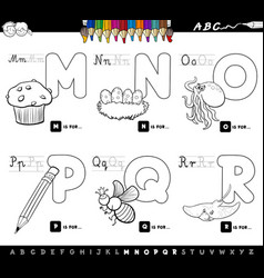 educational cartoon alphabet letters color book vector image vector image