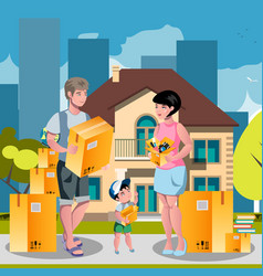 family moved into a new house vector image vector image