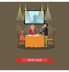 Family new years eve vector