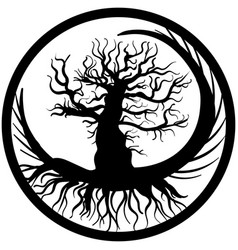 Hand drawn old bare tree crooked branches and root vector