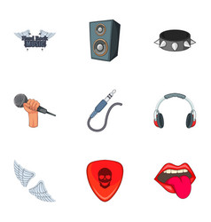 hard rock things icons set cartoon style vector image