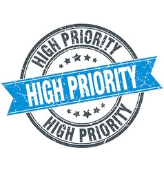 High priority blue round grunge vintage ribbon vector