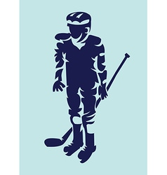Hockey player mascot silhouette vector