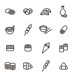 japanese foods black thin line icons set vector image vector image