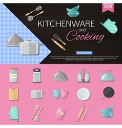 Kitchenware and cooking background with set of vector image vector image