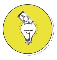 Light bulb and bill inside green button design vector