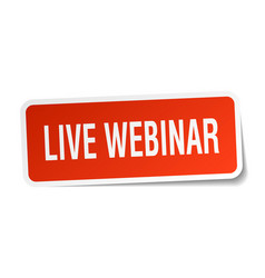 Live webinar square sticker on white vector