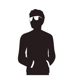 Man with glasses silhouette vector image vector image
