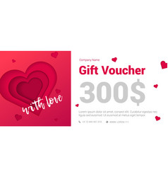 Modern gift certificate with a heart for the vector