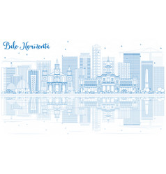 Outline belo horizonte skyline with blue buildings vector