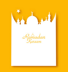 ramadan kareem greeting card in form mosque vector image
