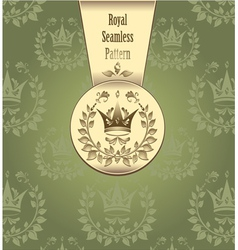 Royal seamless pattern with crown wreath leaves gr vector image vector image