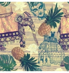 Samless pattern in vintage style with indian vector